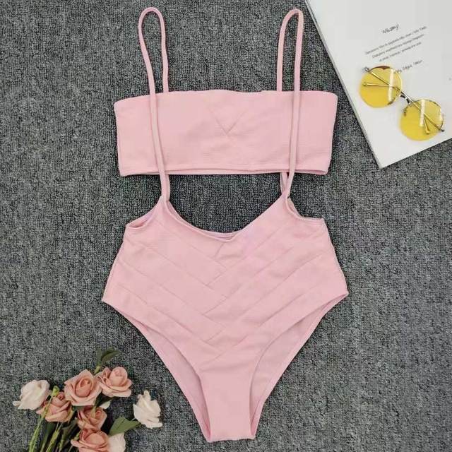 Wholesale Two Pieces Swimsuit Tube-top Bikini High Waisted Bikini