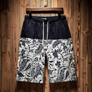 Wholesale Navy Floral Printed Men's Trunk 2021 Trend Swimming Shorts