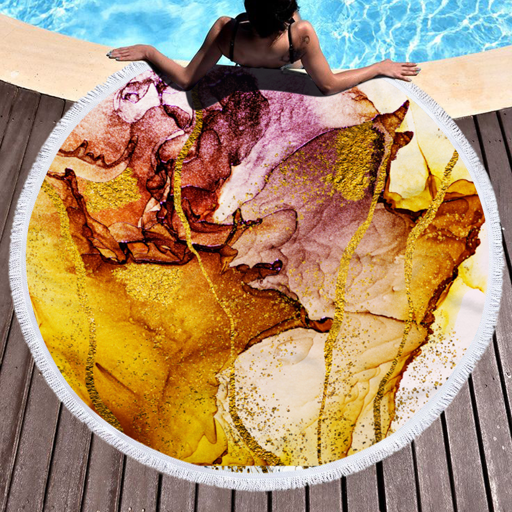 New Designs Marble Quickly Dry Round Printed Larger Microfiber Beach Towel 2020