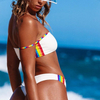 Custom Made White Two Pieces Bikini Tube Top Swimsuit Rainbow Stripes Sexy Swimsuit