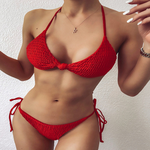 Custom Made Red Side Tied Two Pieces Bikini Triangle Sexy Swimsuit