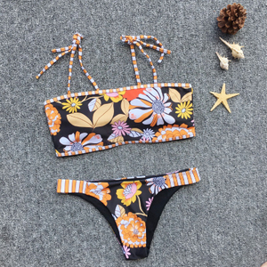 Custom Made Navy Two Pieces Bikini Floral Print Bikini Tube Top Sexy Swimsuit