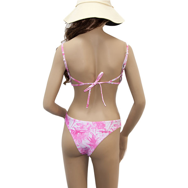 Pink High Waisted Triangle Bikini Set