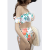 Tropical Floral Two Piece Off The Shoulder Tie Side Bikini Top Swimsuit for Women