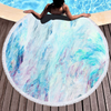 Ins Hot Seller Custom Larger Pink Marble Quick Dry Round Microfiber Beach Towel with Tassels for Summer