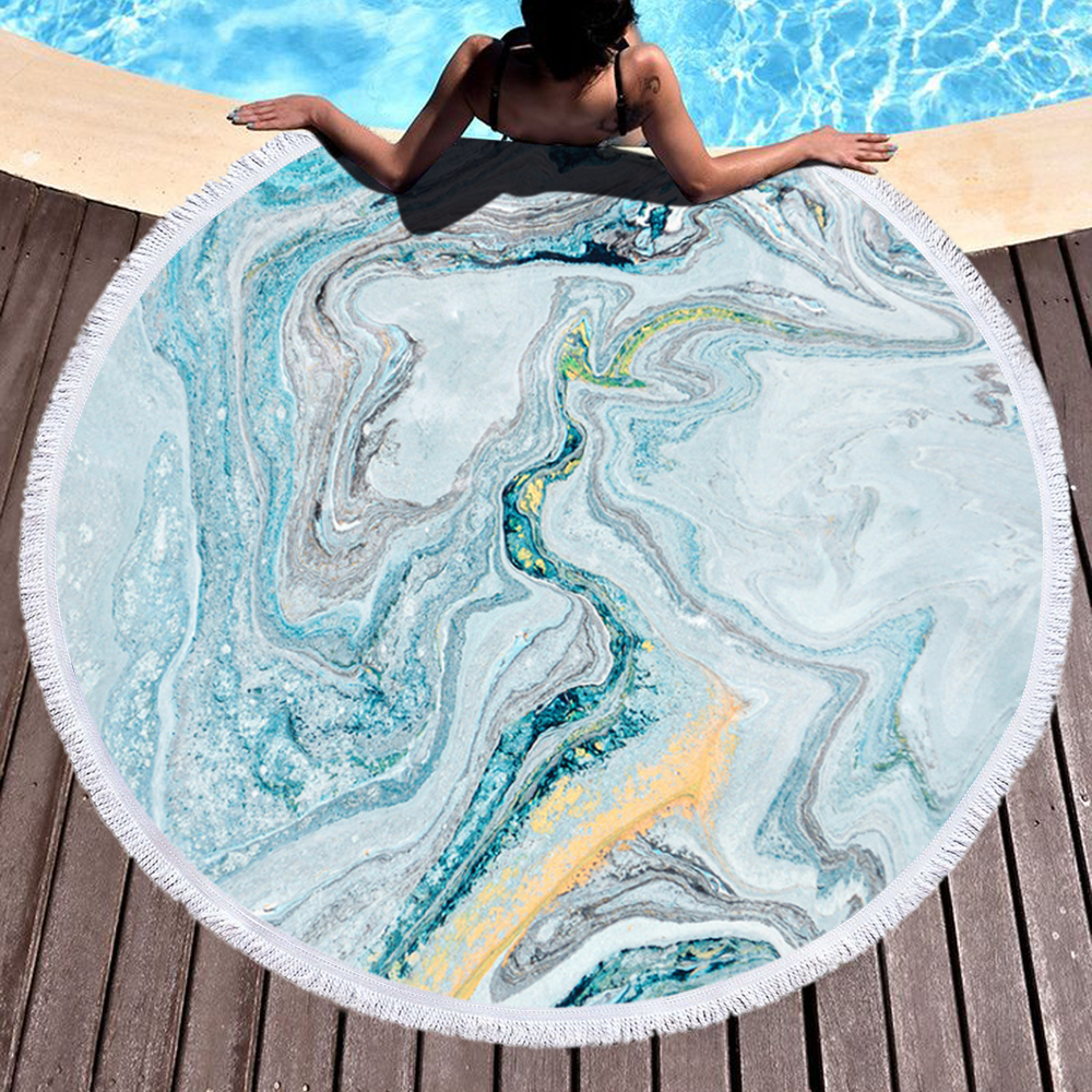 Hot Selling Mixed Color Marble Round Microfiber Beach Towel for Summer