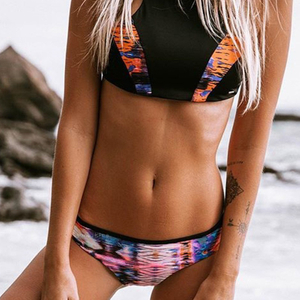 Custom Made Two Pieces Bikini Black Top Floral Bottom Yoga Suit Sexy Sport Swimsuit