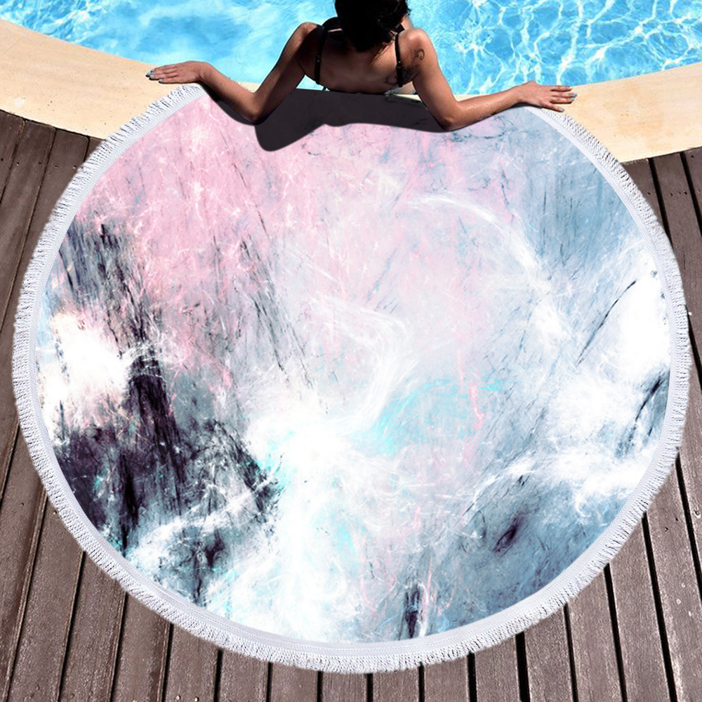Wholesale Marble Quickly Dry Round Printed Microfiber Beach Towel 2020