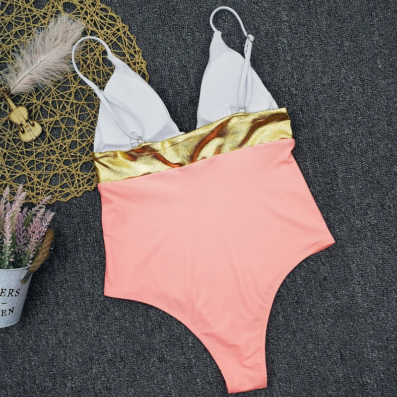 Wholesale One Piece Swimsuit Pink Bright Sexy Bikini Triangle Bikini