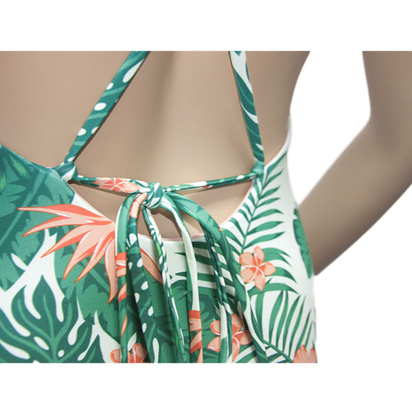 Olive Green Floral One Piece Swimsuit Bikini