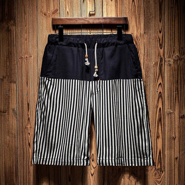 Wholesale Navy Stripes Printed Men's Trunk 2021 Trend Swimming Shorts