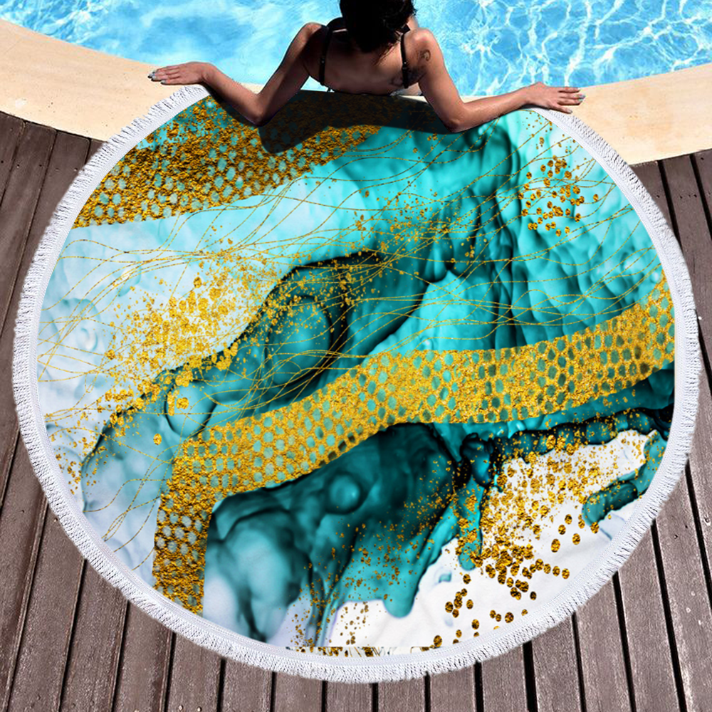 Wholesale Colorful Larger Size Special Pattern Marble Round Printed Marble Microfiber Beach Towel 2020