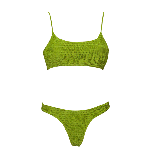 Costom Crinkle Green T Shirt Bikini Top Two Piece Swimsuits for Woman 2020