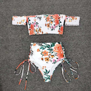 Custom Made Floral Print Two Pieces Bikini High Waist Top Sport Bikini 2020