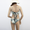 tropical palm two piece seamless bikini black and white swimsuit for women