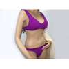 Costom purple low rise two piece swimsuit ribbed v-neck bikini 2020