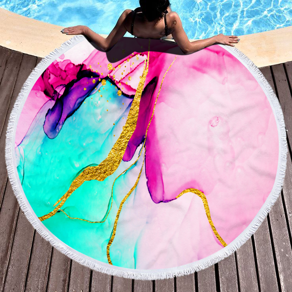 Wholesale Popular Marble Light Color Round Microfiber Beach Towel for Summer