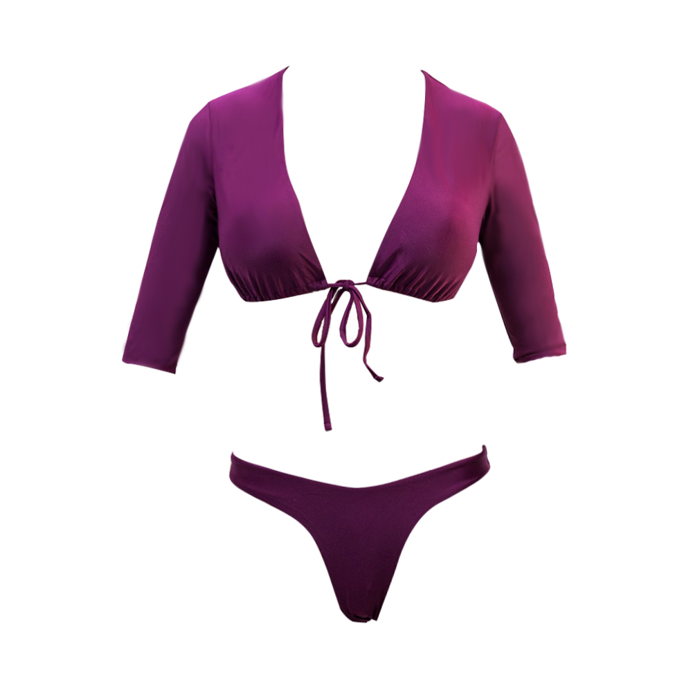 Costom Purple Sexy Long Sleeve Two Piece Swimsuit V-neck Bikini 2020
