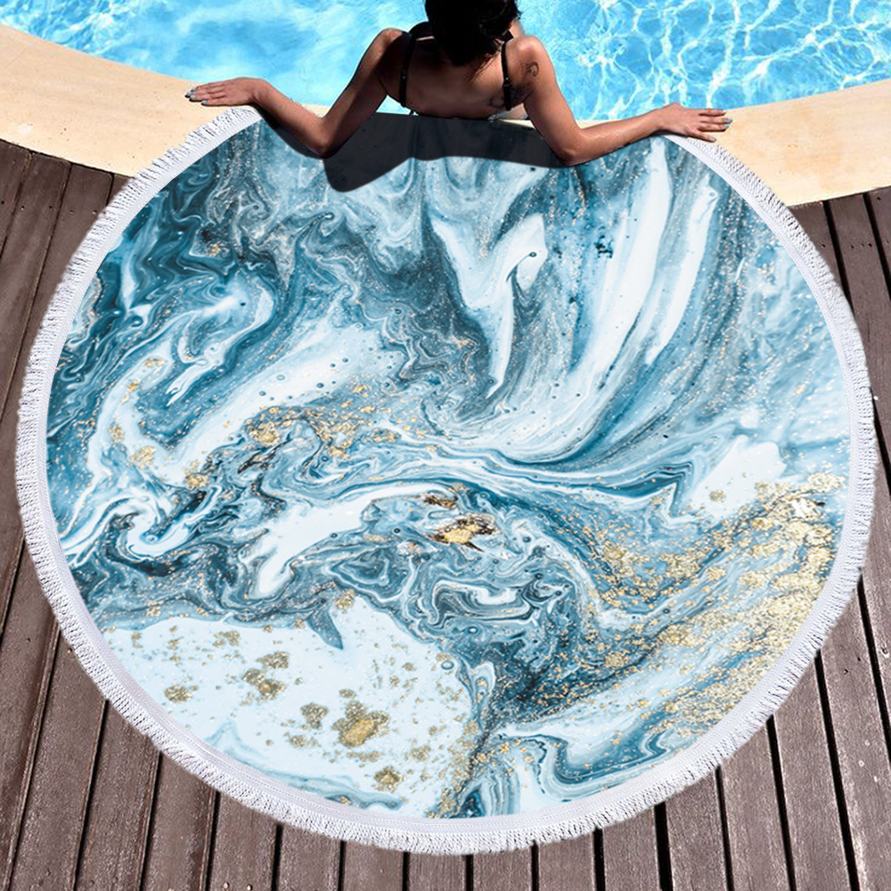 Custom Marble Quickly Dry Round Printed Microfiber Beach Towel 2020